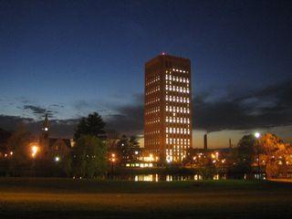 UMass_Amherst_W.E.B._Dubois_Library_night_2