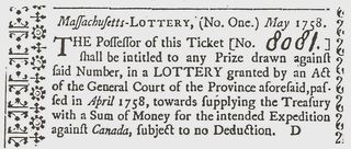 Massachusetts Lottery Ticket 1758