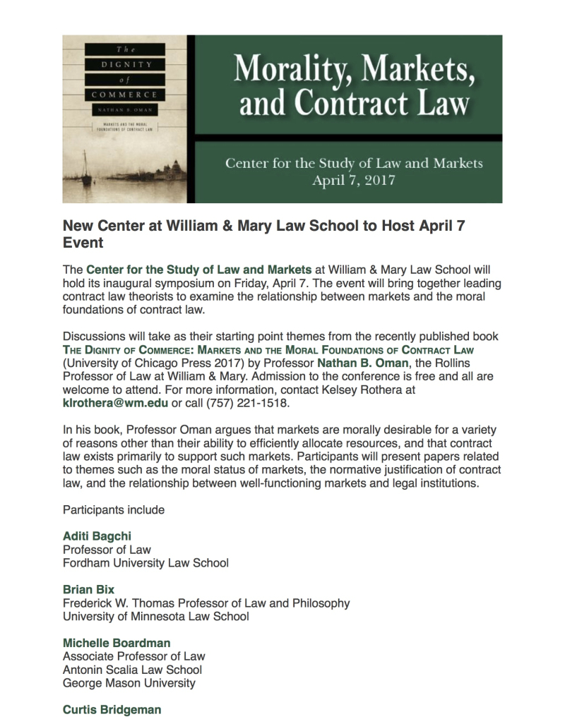 April 7: Morality  Markets  and Contract Law