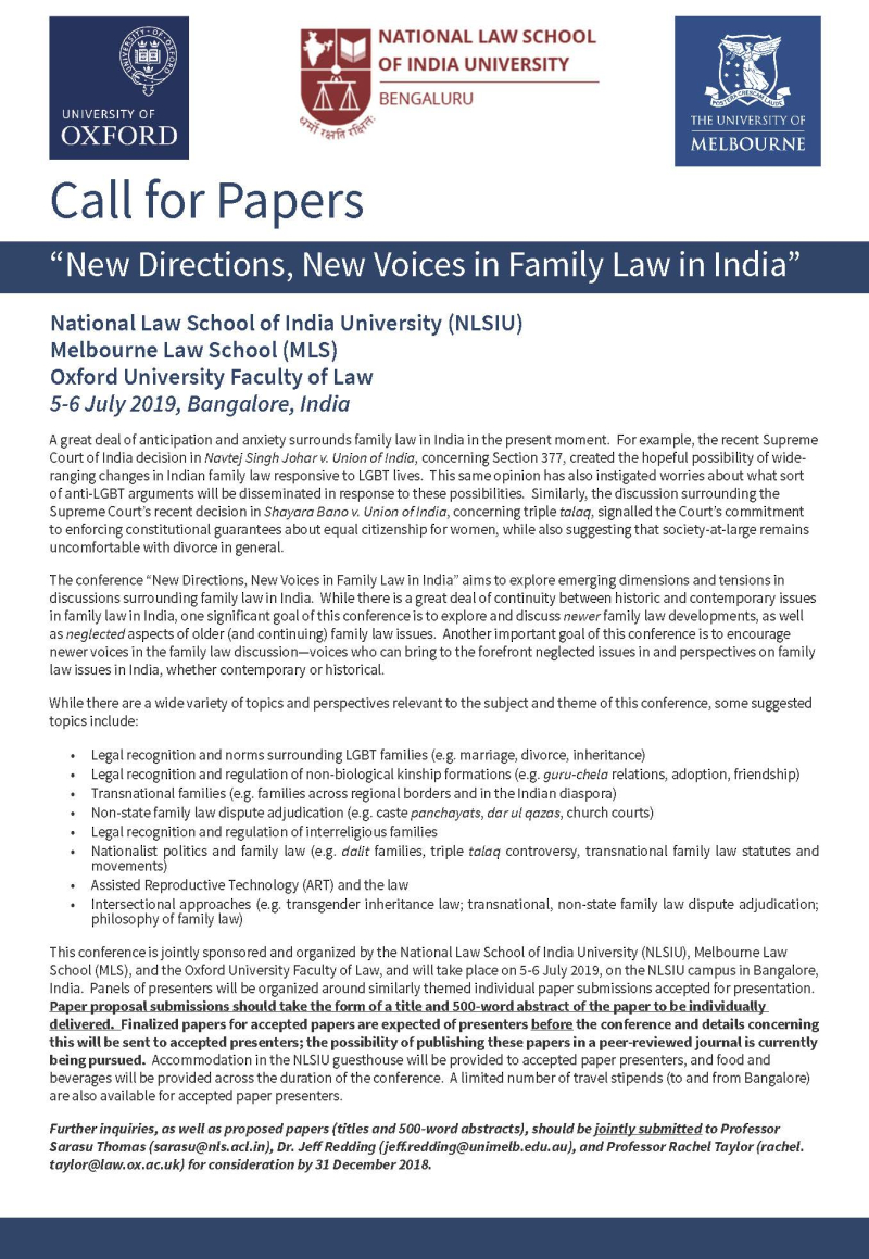 Bangalore Call for Papers